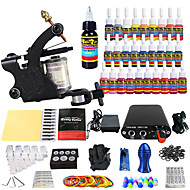 billige Tatoveringssett for nybegynnere-Tattoo Machine Startkit, 1 pcs tattoo maskiner med 28 x 5 ml tatovering blekk - 1 x legering tatovering maskin for fôr og skyggelegging