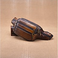 Men Bags Cowhide leatherette Waist Bag Zipper for Casual Summer Coffee