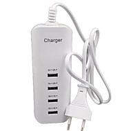 billige -Oplader til hjemmet USB oplader EU Stik Multiporte 4 USB-porte 2 A / 1 A