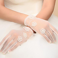 cheap Wedding Gloves-Net Wrist Length Glove Bridal Gloves With Beading Pearl Appliques