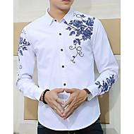 Majica Muške,Jednostavan Ležerno/za svaki dan Print-Dugih rukava Klasični ovratnik-Proljeće Jesen Pamuk