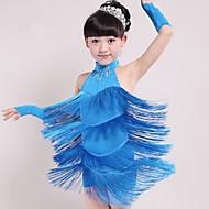 Dança Latina Roupa Crianças Espetáculo Elastano Mocassim Sem Manga Natural Vestido