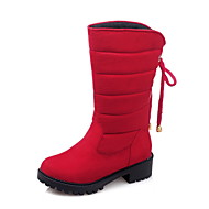 Dame-Fleece-Tykk hæl-Komfort-Støvler-Kontor og arbeid Fritid Sport-Svart Grå Rød