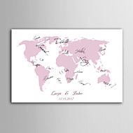 E-HOME®  Personalized Signature Canvas invisible Frame Print - Pink Map