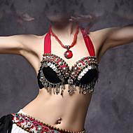 cheap Dancewear & Dance Shoes-Belly Dance Tops Women's Cotton / Polyester / Metal Coins 1 Piece Black American tribal style Bra