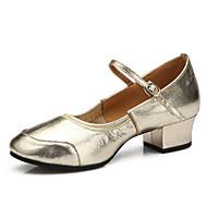 billige Moderne sko-Kan spesialtilpasses-Dame-Dansesko-Latinamerikansk / Moderne-Lær-Flat hæl-Sølv / Gull