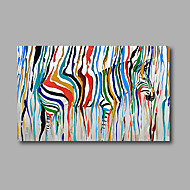 Stretched (Ready to hang) Hand-Painted Oil Painting 90cmx60cm Canvas Wall Art Modern Pop Art Zebra Animals