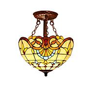 billige Taklamper-barokkstil med 2 lys for tiffany halvhengslampe av høy kvalitet