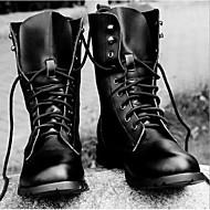 tanie Obuwie męskie-Męskie Buty Skórzany Wiosna Jesień Obuwie w stylu wojskowym Buciki Szurowane Na Casual Black Brown