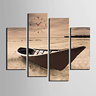 Moderne / Nutidig Andre Wall Clock,Rektangulær Lerret 30x 60cm(12inchx24inch)x2pcs+03 x 90cm(12inchx35inch)x2pcs Innendørs Klokke