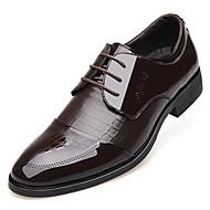 Masculino sapatos Couro Primavera Verão Outono Inverno Conforto Botas da Moda Oxfords Cadarço Para Casual Festas & Noite Preto Marron