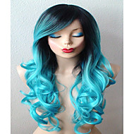 Teal Blue Wig Long Curly Hair with Dark Roots Wig Durable Heat Resistant Fashion Wig for Daily Use or Cosplay