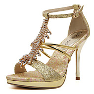 Χαμηλού Κόστους Hot U®-Γυναικεία Παπούτσια PU Άνοιξη / Καλοκαίρι Τακούνια Τακούνι Στιλέτο Κρυσταλλάκια / Πούλιες / Αστραφτερό Γκλίτερ Χρυσαφί / Γάμου / Αγκράφα