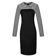 Dámské Sofistikované Společenské / Velké velikosti Bodycon Šaty Pepito,Dlouhý rukáv Košilový límec Délka ke kolenům Černá / Fialová
