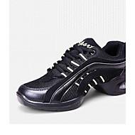billige Sko til latindans-Dame Latin Moderne Lær Joggesko utendørs Trening Snøring Flat hæl Svart Kan ikke spesialtilpasses