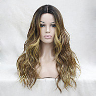 Kvinder Syntetiske parykker Blonde Front Lang Bølget Beige Ombre-hår Mørke hårrødder Highlighted/balayage-hår Natural Hairline
