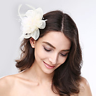 cheap Wedding Headpieces-Tulle Feather Net Fascinators Headwear with Floral 1pc Wedding Special Occasion Headpiece