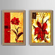 billige Innrammet kunst-Håndmalte Abstrakt Still Life fantasi Blomstret/Botanisk Lodrett, Moderne Tradisjonell Europeisk Stil Lerret Hang malte oljemaleri Hjem