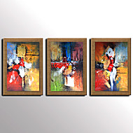 Kézzel festett Absztrakt / Híres / Landscape / Csendélet / Fantasy Festmények,Modern / Mediterrán / Európai stílus Három elem VászonHang