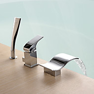 billige Rabatt Kraner-Badekarskran - Moderne Krom Romersk kar Keramisk Ventil Bath Shower Mixer Taps / Messing / Enkelt håndtak tre hull