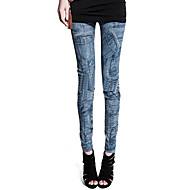 Žene Crn Plava Poliester Spandex Predena nit Srednje Traper Print Legging