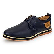 メンズ 靴 レザー 春 秋 コンフォートシューズ オックスフォードシューズ ウォーキング 編み上げ 用途 カジュアル ブラック ダークブルー Brown