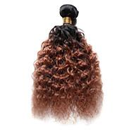 Echt haar Indiaas haar Ombre Diepe golf Haarextensions 1 Stuk Zwart / Medium Auburn