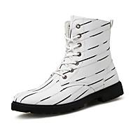 baratos Sapatos de Tamanho Pequeno-Homens sapatos Lona Outono / Inverno Curta / Ankle / Coturnos Botas Botas Curtas / Ankle Branco / Preto / Festas & Noite
