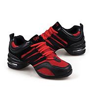 billige Dansesneakers-Dame Dansesko / Moderne sko Lær / Tekstil Joggesko Snøring Flat hæl Kan ikke spesialtilpasses Dansesko Svart / Rød / Gylden / Trening