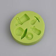 baby flaske og pacifier form silikon mold for baby bursdag kake fondant kake farge tilfeldig