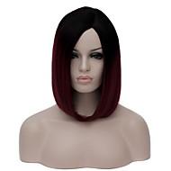 Naisten Lyhyt tumma viini Synteettiset hiukset Suojuksettomat capless Peruukit Halloween Peruukki Carnival Peruukki puku Peruukit