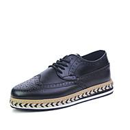 Muškarci Cipele Umjetna koža Koža Jesen Udobne cipele Oksfordice Hodanje Vezanje za Kauzalni Ured i karijera Zabava i večer Obala Crn