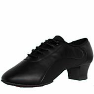billige Men's Dance Shoes-Herre Sko til latindans Lær Høye hæler Snøring Lav hæl Kan ikke spesialtilpasses Dansesko Svart / Innendørs