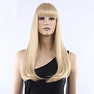 Kvinder Syntetiske parykker Lågløs Medium Glat Blond Med bangs / pandehår Halloween Paryk Carnival Paryk Naturlig paryk kostume Parykker