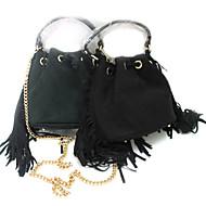 baratos Bolsas Tote-Mulher Bolsas Outono Inverno Camurça sacos de balde com Mocassim para Casual Preto Verde Escuro