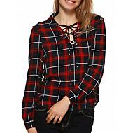 Feminino Camisa Casual Simples Todas as Estações,Xadrez Vermelho Algodão / Poliéster Decote V Manga Longa Fina