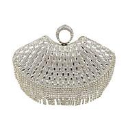 hesapli Çantalar-Kadın's Çantalar özel Malzeme Gece Çantası Kristaller / Yapay Elmaslar için Düğün / Davet / Parti / Resmi İlkbahar yaz Siyah / Gümüş /
