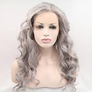 Kvinder Lang Grå Bølget Natural Hairline Side del Syntetisk hår Blonde Front Naturlig paryk Halloween Paryk Carnival Parykkostume