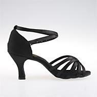 baratos Sapatilhas de Dança-Mulheres Sapatos de Dança Latina / Dança de Salão Cetim Sandália Salto Agulha Sapatos de Dança Preto / Bronze