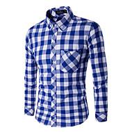 Langærmet Stående krave Medium Herrer Ternet Ruder Forår Efterår Simpel Afslappet/Hverdag Formelle Plusstørrelser Skjorte,Bomuld