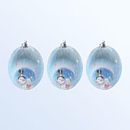 3 db karácsonyi dekoráció aranyos hóember mintás kék színű labda