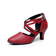 "Women's Latin Leather Sandal Practice Beginner Professional Indoor Performance Buckle Low Heel Black Red 1"" - 1 3/4"" Customizable"
