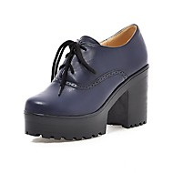 נשים-נעלי אוקספורד-PU-נוחות-שחור כחול צהוב אדום בז'-משרד ועבודה יומיומי-עקב עבה