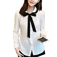 Feminino Camisa Casual / Tamanhos Grandes Simples Primavera / Outono,Patchwork Azul / Branco Poliéster Colarinho de Camisa Manga Longa