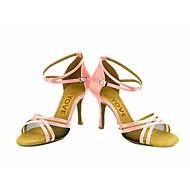 baratos Sapatilhas de Dança-Mulheres Latina Salsa Seda Cetim Sandália Salto Espetáculo Profissional Presilha Cadarço de Borracha Salto Personalizado Rosa Azul