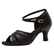 hesapli Dans Ayakkabıları-Kadın's Latin Dans Ayakkabıları / Caz Dans Ayakkabıları / Salsa Ayakkabıları Işıltılı Simler / Yapay Deri Sandaletler / Topuklular Toka Kişiye Özel Kişiselleştirilmiş Dans Ayakkabıları Altın / Siyah