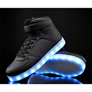 LED Light Up Shoes,Boy's Sneakers Spring / Fall Comfort PU / Cowhide Athletic Flat Heel / Lace-up Black / Blue / White Sneaker
