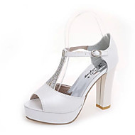 Women's Sandals Spring / Summer Comfort PU Wedding / Party & Evening / Dress / Casual Chunky Heel Buckle White / Silver Walking