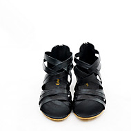 billige Sko i Store Størrelser-Dame Sko Lær Vår Høst Komfort Sandaler Flat hæl til Avslappet Svart Gul Rød