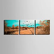 Kvadrat Moderne / Nutidig Wall Clock , Andre Lerret30 x 30cm(12inchx12inch)x3pcs / 40 x 40cm(16inchx16inch)x3pcs/ 50 x